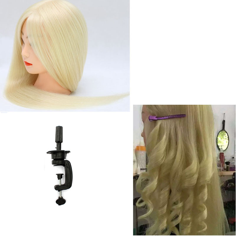 60 Real Animal Hair Training Head 60cm Blonde Hair For Salon Hairdressing Mannequin Dolls Styling Head Can Be Curled in Mannequins from Home Garden
