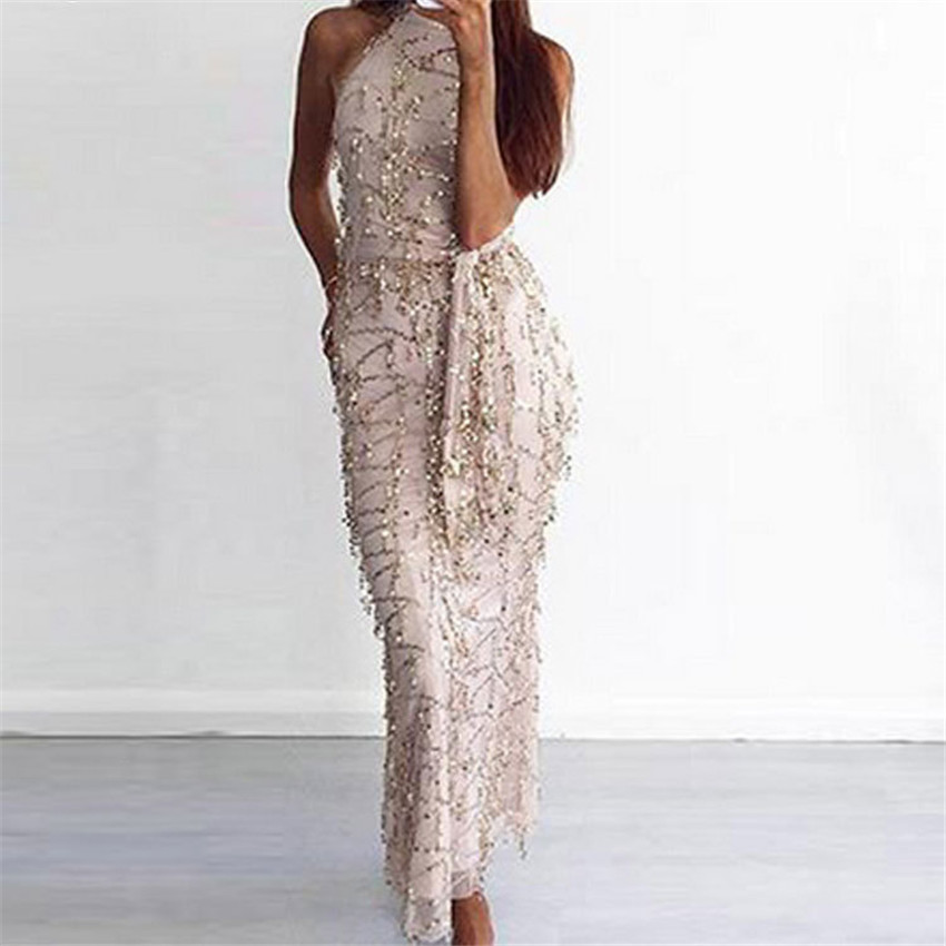 ZYFPGS New Fashion 2019 Sexy Bling Party Dress Women Sleeveless Bodycon Sheath Hater Club Long Dress Sequined Bling Dress CYQ049 in Dresses from Women 39 s Clothing