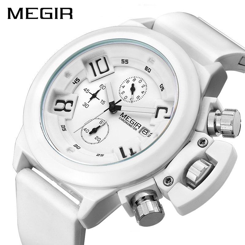 MEGIR Fashion Men Sport Watch Silicone Chronograph Quartz Army Watches Clock Relogio Masculino Mens Wristwatches With Watch Box