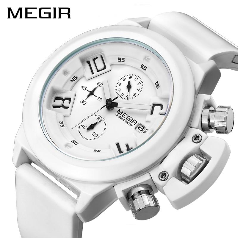 MEGIR Fashion Men Sport Watch Silicone Chronograph Quartz Army Watches Clock Relogio Masculino Mens Wristwatches With Watch Box