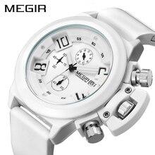 MEGIR אופנה גברים ספורט שעון סיליקון הכרונוגרף קוורץ צבא שעונים שעון Relogio Masculino Mens שעוני יד עם תיבת שעון