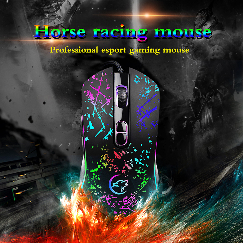 USB Gaming Mouse Cable RGB 6 Backlight Macro Programmable Buttons Black Gamer Backlight For Desktop Gaming Pc