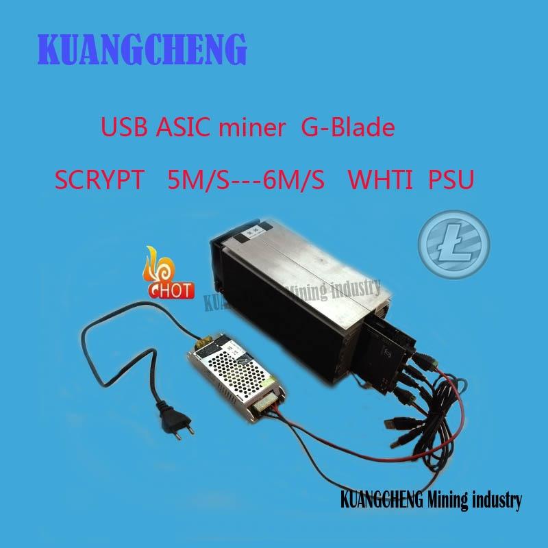 KUANGCHENG industria minera Ltc minero Gridseed Blade G-Blade Scrypt Litecoin ASIC minero 5,2 ~ 6Mh/s asic minero litecoin minero + PSU