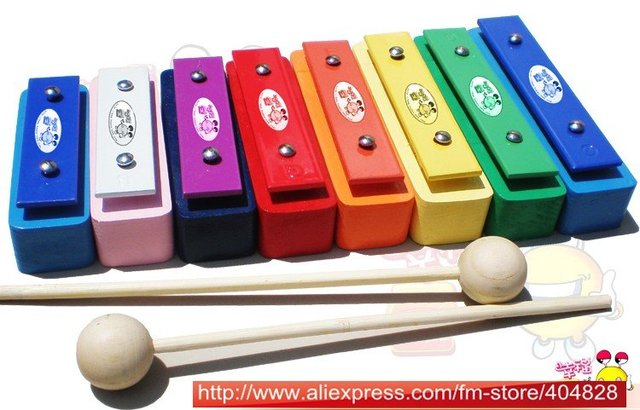 Educational percussion instrument toy:Vibraphone,8 individually tones Aluminium harp.hollowed design