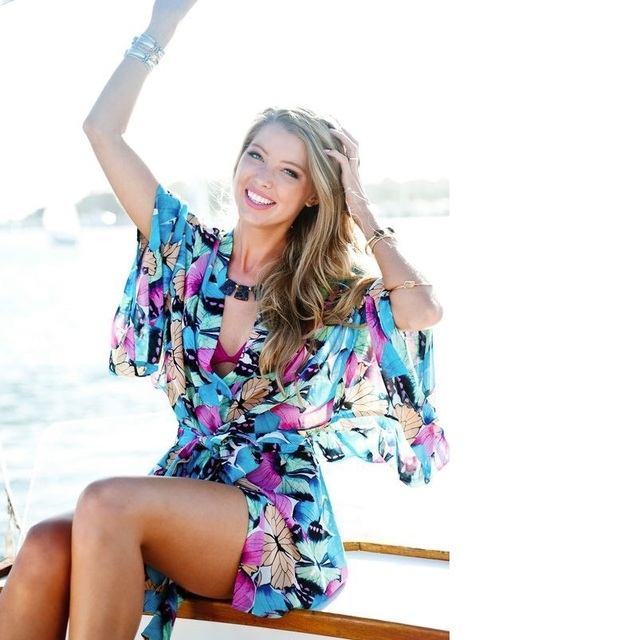 c88cc6a76b618 Women Chiffon Swimsuit Cover up Beach Bikini Stylish Bathing Suit Cover ups