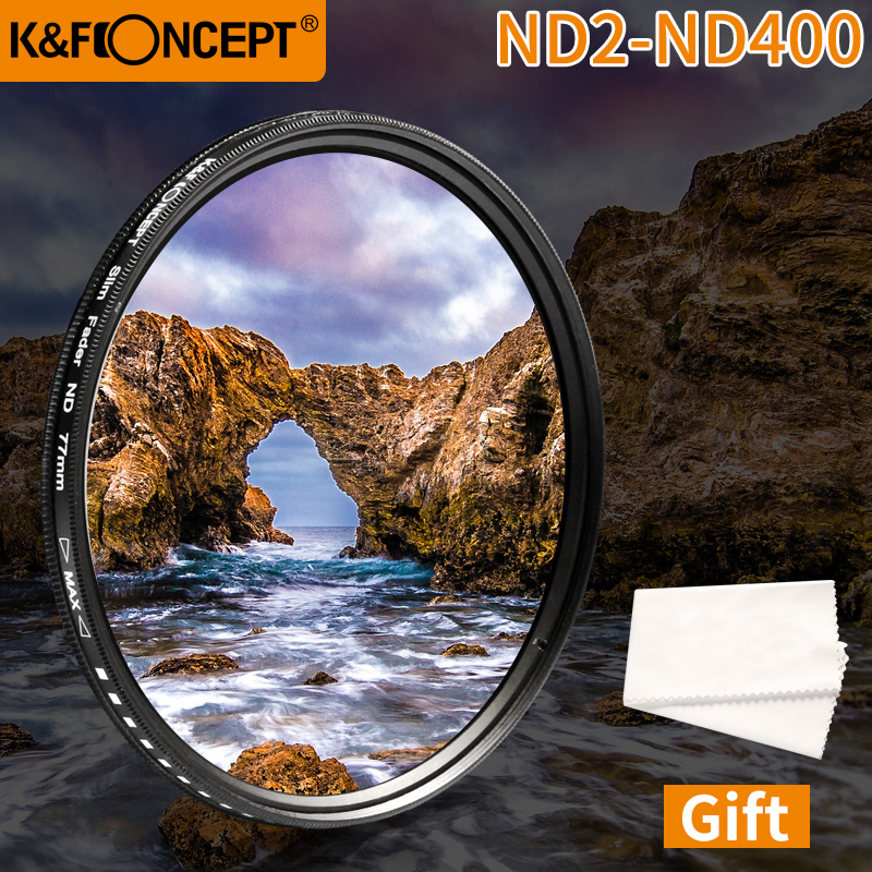 K&F CONCEPT Adjustable ND2 To ND400 ND Lens Filter 37MM 55MM 58MM 62MM 67MM 72MM 77MM 95MM Slim Fader Variable Neutral Density