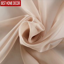 BHD Soild Tulle Sheer Window Curtains for living room the Bedroom Modern Tulle Curtains Fabric for Kitchen Voile Blinds Drapes 1 pair of sheer window tulle fabric curtains