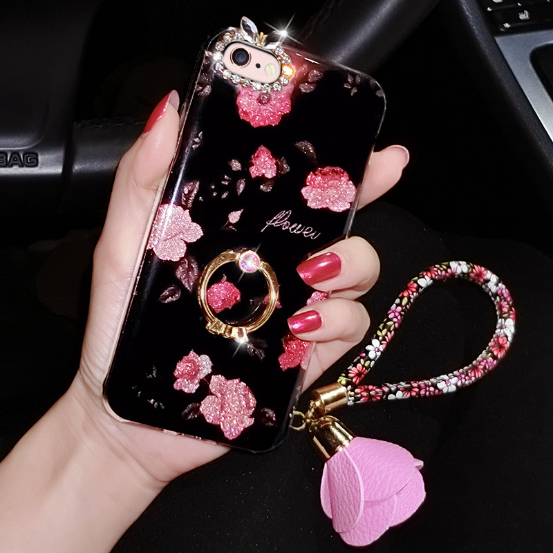 Case For iPhone Xr Xs Max Cover Luxury Rose Flower 3D Metal  (6)
