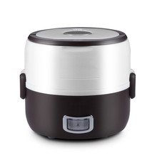 Newest 2 in 1 Portable Lunch Box Electric Rice Cooker Multifunction Mini Rice Cooker (1.3L) – Brown