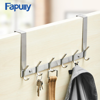 Fapully Stainless Steel 6 Hooks Coat Hanger Key Holder Wall Clothes Towel Hook For Door Kitchen Bathroom Accessories Hardware