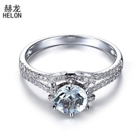 925 Sterling Silver Certified Round Flawless 0.65ct Genuine Aquamarine Ring Engagement Diamonds Rings For Women Wedding Jewelry