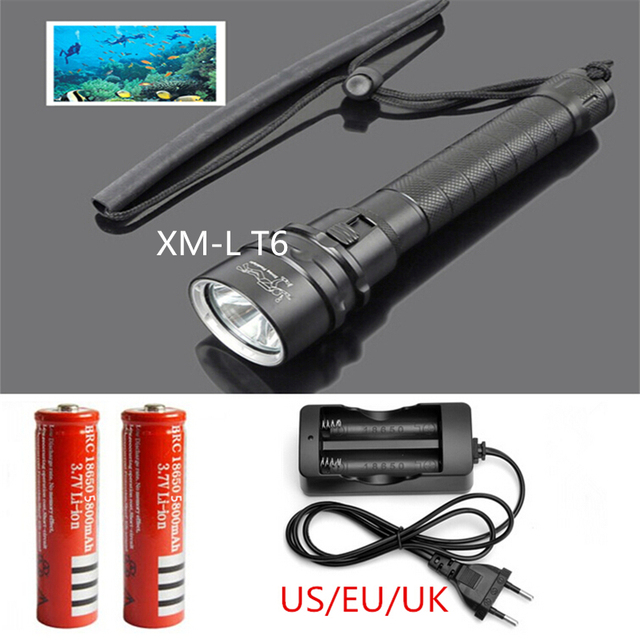 New Underwater LED Torch CREE XM-L T6 LED 2000 Lumens Dive Flashlight Torch Waterproof 100M+2pcs 18650 battery +AC charger