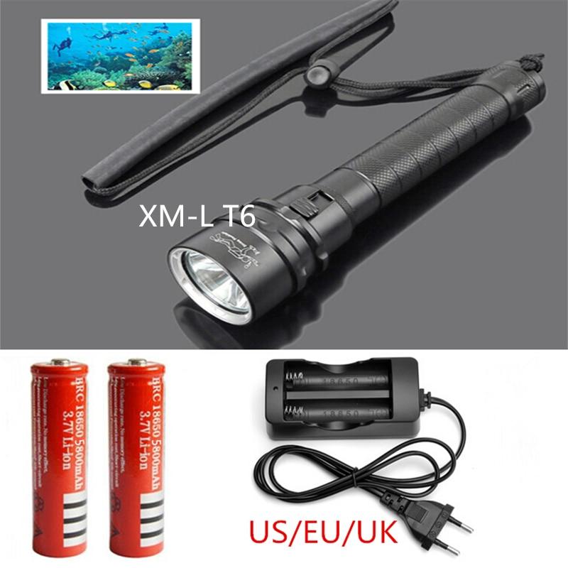 Nieuwe onderwater led zaklamp XM-L T6 LED 2000 lumen duik zaklamp - Draagbare verlichting