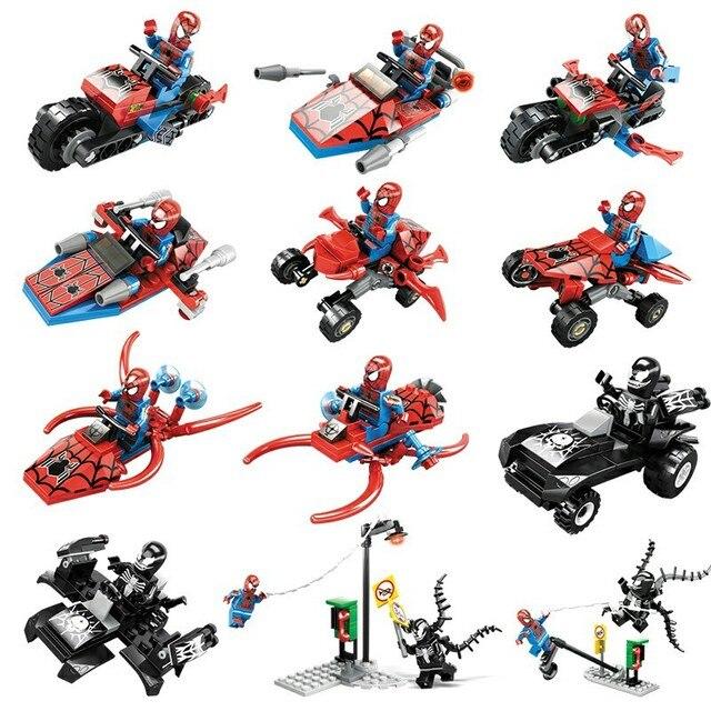 KAZI 60011 Blocos de Construção 6 EM 1 Super Hero Spiderman Action Figure Brinquedos Tijolos Brinquedos Educativos para Crianças