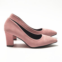 DRAFRGO Women's Pink Shoes 7.5 cm Block Heel sexy woman pumps Summer EUR 34 -39 Mujer Zapato Office Low Heel Femme Chaussure