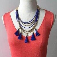TULUM TASSEL NECKLACE Famous Brand Jewelry Boho Multi Layered Golden Beaded Chain Royal Blue Silk Tassel