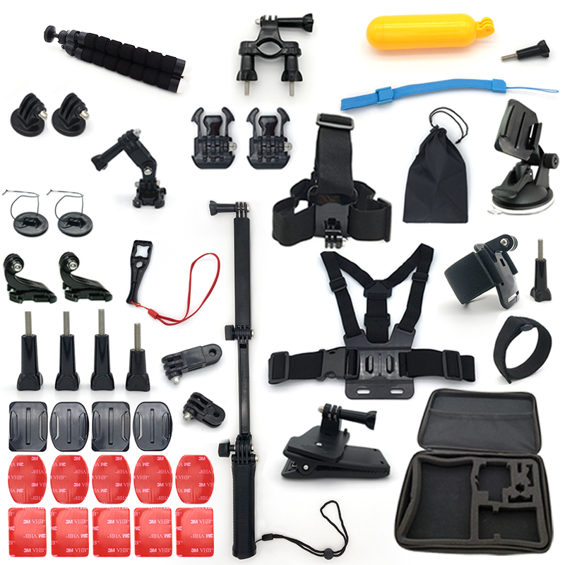 Pour GoPro accessoires set Hero 6/5/4/3 tête avec sangle de poitrine sac de rangement selfie bâton ensemble ventouse go pro accessoires
