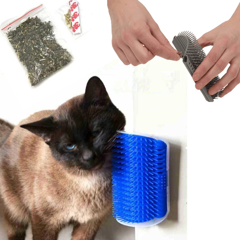 Wall Corner Comb Brush For Cat Massage Machine Scratching Device Pet Accessories Cat Groomer Brush Hair Remover Toy With Catnip