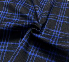Fashion Thick blue plaid geometric wool fabric jacket coat Party printing super hollandais sequin design college A284