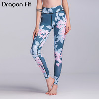Dragon Fit Printed Floral Yoga Pants Women High Waist Stretched Running Leggings Female Fitness Sport Tights