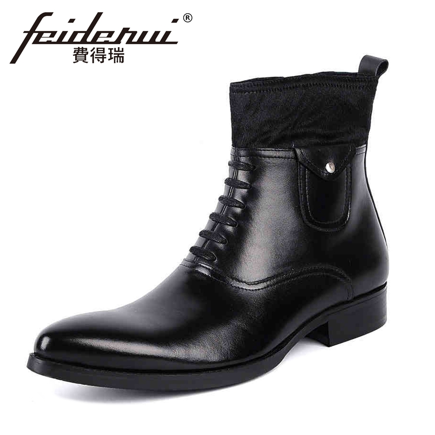 Fashion Full Grain Genuine Leather Men's Fur Ankle Boots Luxury Designer Pointed Toe High-Top Cowboy Motorcycle Man Shoes YMX22 girls and ladies favorite white roller skates with full grain genuine leather dual lane roller skate shoes for adult skating