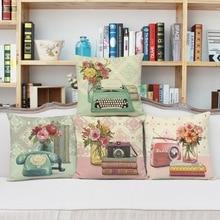 Nueva alta Calidad 45×45 cm algodón de Lino Funda de Cojín para aparatos Decorativos Vintage Retro Imprimir almohadas Decorativas Casa decoración
