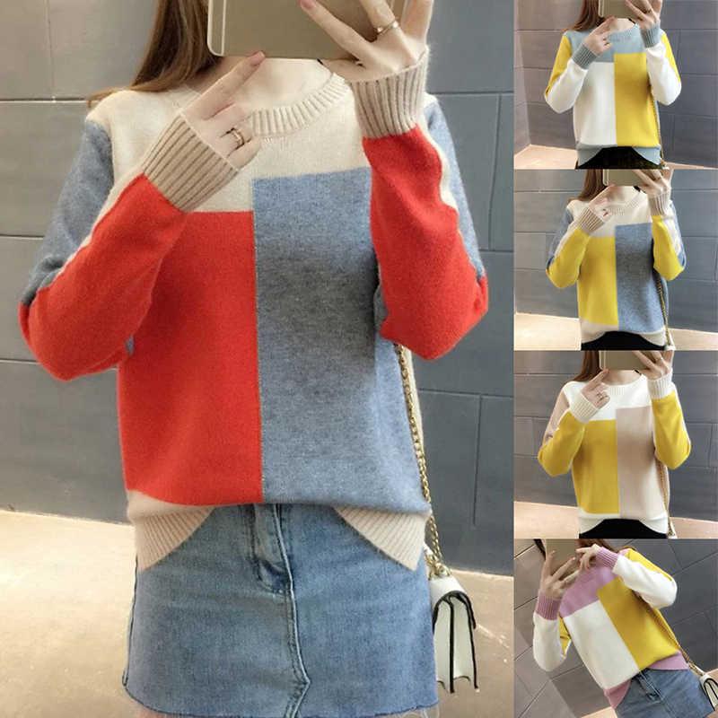 SweaterBlock de invierno para mujer suéter y Pullover contraste de Color para mujer de manga larga de punto jersey de Color