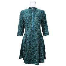 elegant vintage a-line solid new dresses mamaan style half sleeve zipper empire knee length female
