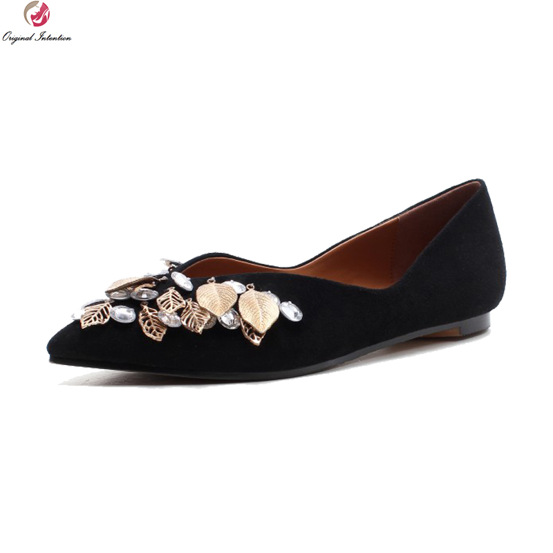 Original Intention New Stylish Women Flats 2018 Kid Suede Pointed Toe Flat Shoes High-quality Black Shoes Woman US Size 4-8.5 pu pointed toe flats with eyelet strap