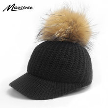 e222b58053bcc Autumn Winter Baseball Caps For Women Girl Real Raccoon Fur Pom Poms  Knitted Hat Casual Solid