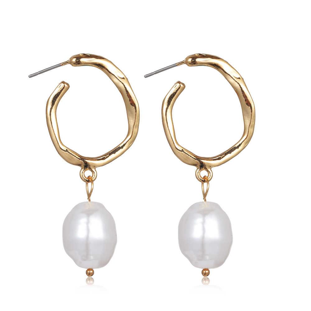 2019 nuevos pendientes mujer moda Corea Metal pendiente Irregular círculo cuadrado Natural perla de agua dulce pendientes para niñas regalo