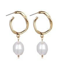 New Trendy Korea Design Metal Gold Geometric Irregular Circle Square Natural Freshwater Pearl Stud Earrings For Women Girl Gift