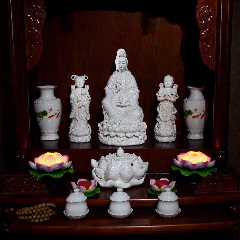 Home Decor Ceramic Buddha Buddha Candlestick Decoration Buddha Hall Offering Supplies Butter Lamp Lamp Holder