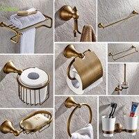 Античная латунь бронза Ванная комната оборудование комплект круглое основание матовый Аксессуары для ванной комнаты настенный Ванная ком