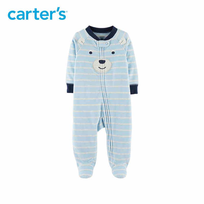 Carter's Bear Zip-Up Fleece Sleep & Play Cute blue long sleeve footies baby boys clothing suit for 3M 6M 9M 115G597 colorful geometric print long sleeve zip up hoodie