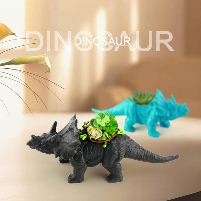 Dinosaur Plastic Animal Flower Pot 4 Type Cactus Plant Succulent Pot Flower Bonsai Pots Container Planter Garden Decoration