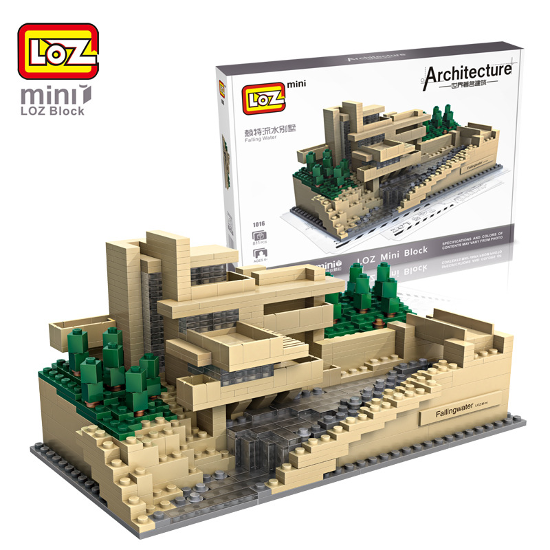 2017 New World Famous Architecture LOZ Mini Blocks Falling Water Toys For Children Models Building Toys Creator Block Bricks loz lincoln memorial mini block world famous architecture series building blocks classic toys model gift museum model mr froger