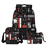 VEEVANV Gilr School Backpacks Fashion 3 PCS SET Twenty One Pilots Printing Shoulder Bags for Teenage Girls Cool Cortoon Bookbags