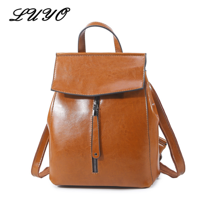 LUYO Brand New Arrival Oil Wax Genuine Leather Woman Fashion Small Feminine Vintage Backpack Women Sac A Dos Back Bag Sack luyo 100% soft genuine leather women backpack for girls youth woman ladies laptop bag daily backpack school sac a dos travel