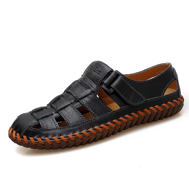 51e15e46c VANCAT New Summer Men Sandals 2019 Leisure Beach Men Shoes High Quality  Genuine Leather Sandals The Men's Sandals Big size 39-47