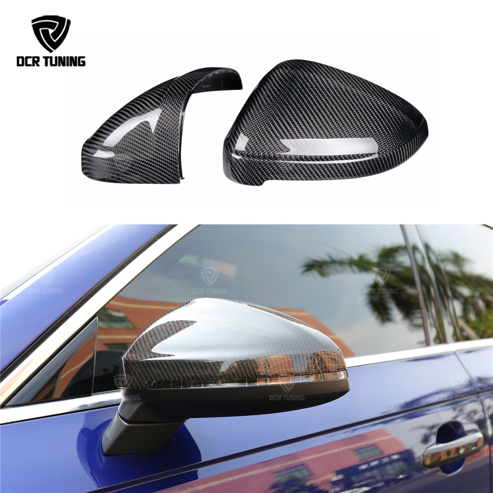 Carbon fiber Rear View Mirror Cover For Audi B9 A4 S4 A5 S5 2016 - UP Carbon Mirror side Caps Replacement Style & Add On Style Carbon fiber Rear View Mirror Cover For Audi B9 A4 S4 A5 S5 2016 - UP Carbon Mirror side Caps Replacement Style & Add On Style