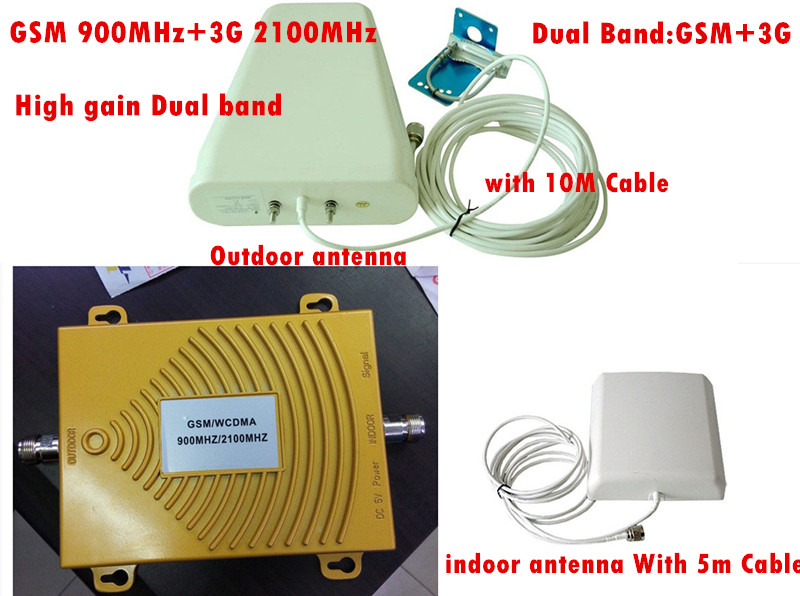 Dual Band 2G GSM 900MHz + 3G W-CDMA 2100MHz Mobile Signal Repeater Amplifier , Cellular Signal Booster GSM Repetido Kit + Cable