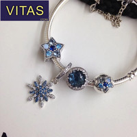 ViTas PAN sterling silver S925 star blue snowflake pendant creative star bracelet 2018 classic style men and women style
