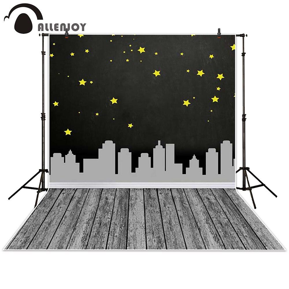 Allenjoy Photography backdrops background city Night sky tower wooden floor super hero children baby shower studio