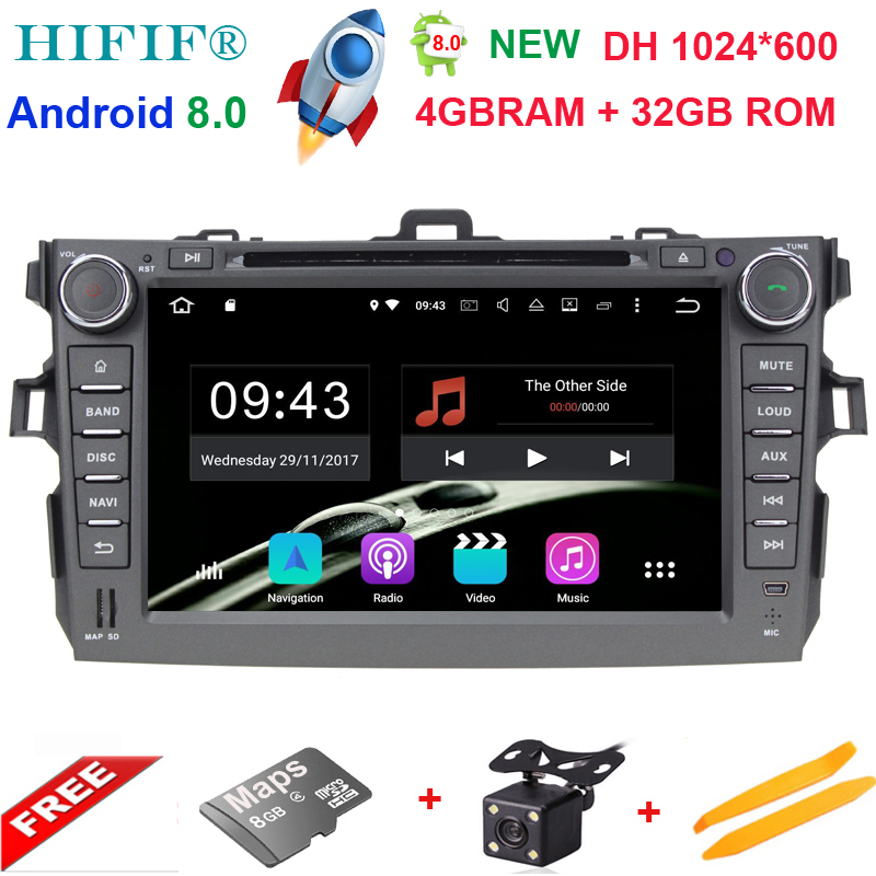 4+32G Android 8.0 Steering-Wheel For Toyota Corolla 2008 Octa Core Car DVD Player GPS Navigation HD Touch Screen Radio Audio