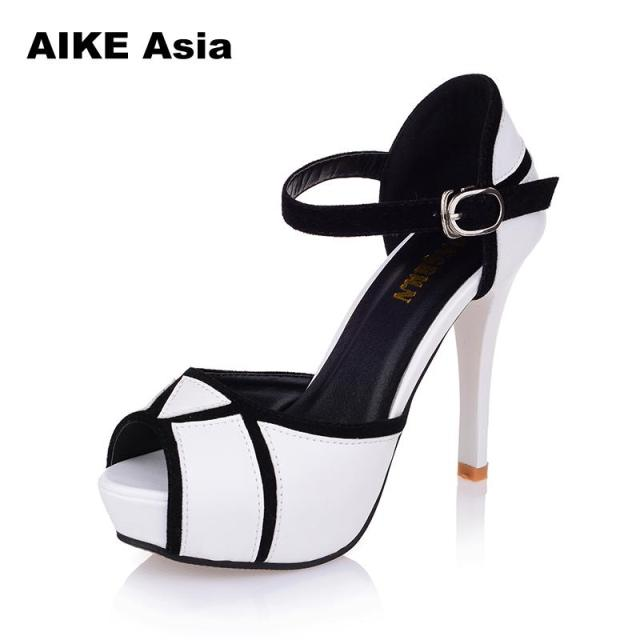 Summer Hollow Buckle Women's Shoes European And American Fight Color Fish Mouth Fine With High Heels Young Daily Shoes #A6619 2
