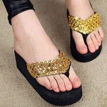 Вьетнамки стеллажи платформы клин тапочки сандалии летние случайные женская обувь мода