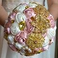 2017 dama de Honor Nupcial de La Boda Bouquet Barato Nuevo Cristal De Lujo de Marfil y Rosa Hecha A Mano Artificial Rose Flores Ramos de Novia