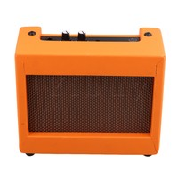 Yibuy 20 5x16x8cm Plastic Orange Guitar Amplifier 9V 5W Portable Outdoor Playing And Singing Guitar Speaker