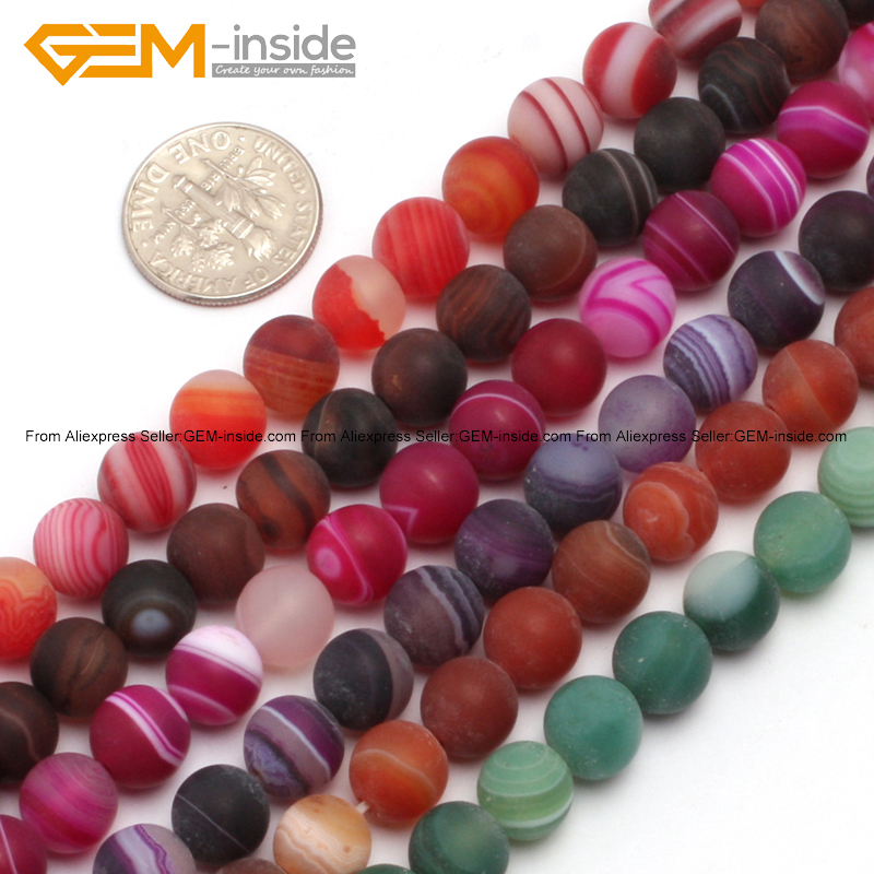 Gem-inside Round Matte Frost Agates Beads For Jewelry Making Beads 6-14mm 15inch DIY Beads Jewellery Gift